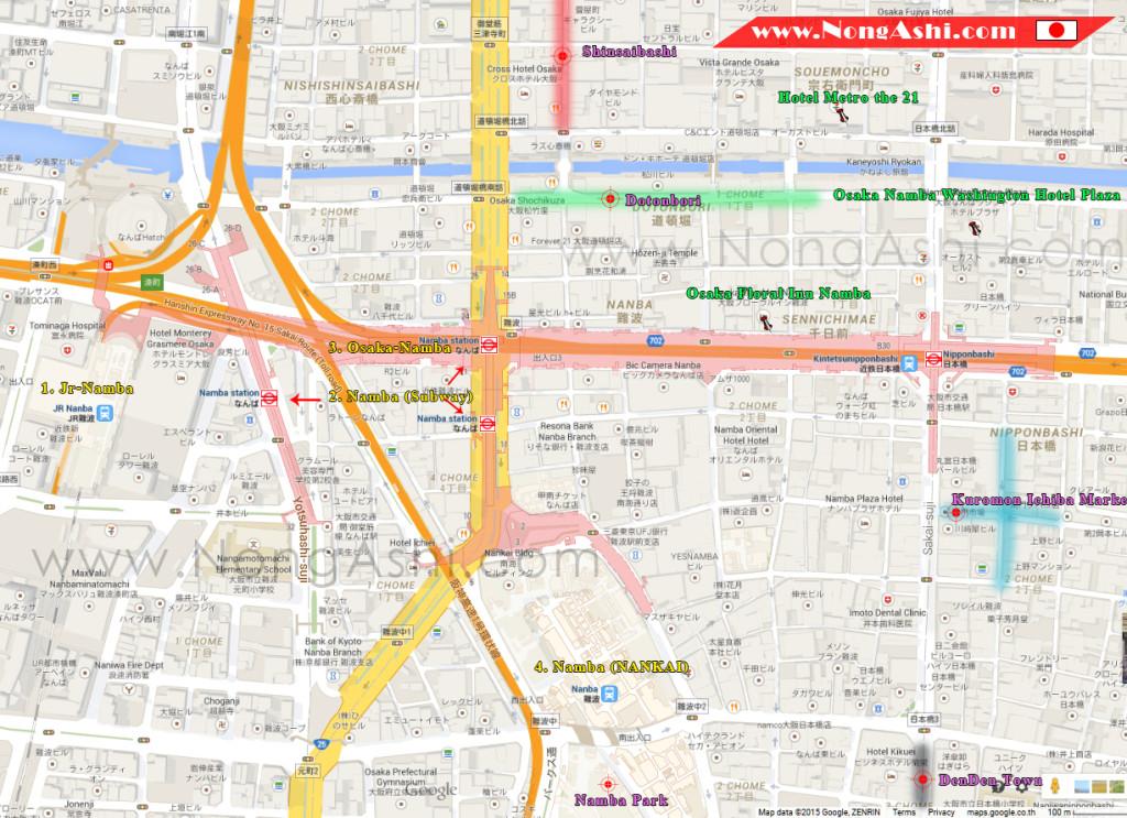 แผนที่นัมบะ โรงแรม สถานีรถไฟ แหล่งท่องเที่ยว