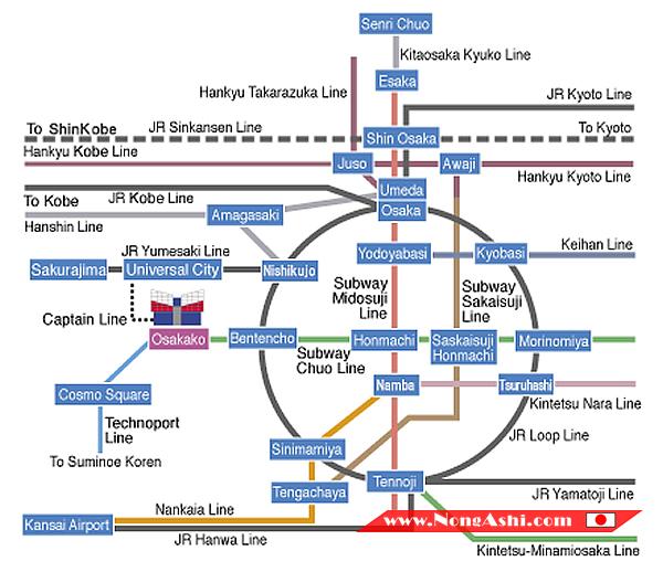แผนที่รถไฟมา Kaiyukan Aquarium